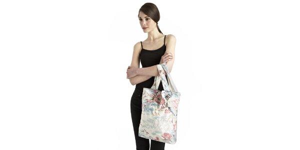 Dámská modro-bílo-růžová taška s lotosovými květy Uttam Boutique