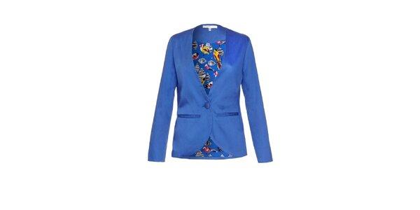 Dámské modré sako s ptačí podšívkou Uttam Boutique