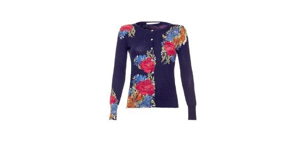 Dámský tmavě modrý propínací svetr s květinovým potiskem Uttam Boutique