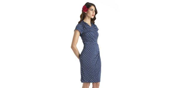 Dámské modré vintage šaty s bílými puntíky a páskem Uttam Boutique