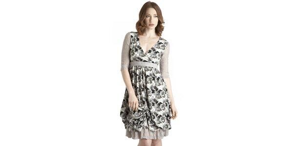 Dámské šedo-modré šaty s motýlím vzorem a krajkovými detaily Uttam Boutique