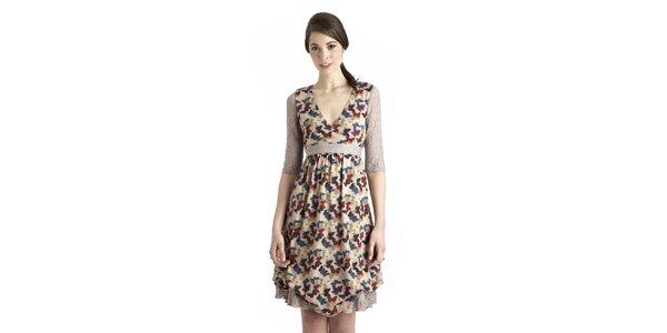 Dámské béžové šaty s motýlím vzorem a krajkovými detaily Uttam Boutique