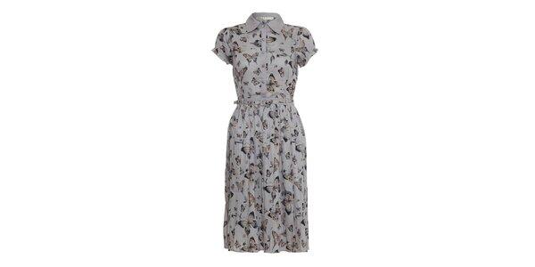 Dámské šedé šaty Uttam Boutique s motýly