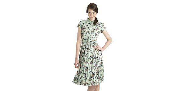 Dámské mintové šaty Uttam Boutique s motýly