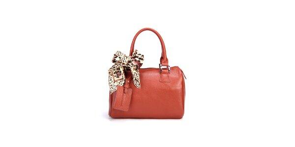 Hnědá kufříková kabelka Belle&Bloom s ozdobným šátkem