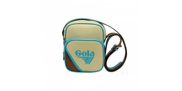 Smetanová taška Gola s tmavě hnědými detaily a modrým lemováním