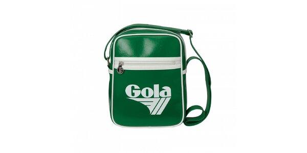 Tmavě zelená taška Gola s bílým lemováním