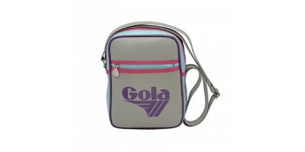 Šedá taška Gola s fialovým lemováním a modrorůžovými detaily