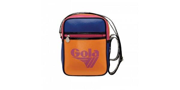 Oranžová taška Gola s černým lemováním a modrorůžovými detaily