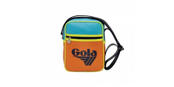 Oranžová taška Gola se žlutým lemováním a světle modrými detaily