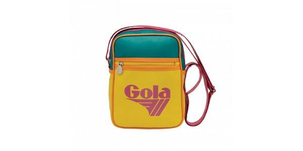 Žlutá taška Gola s oranžovým lemováním a růžovozelenými detaily