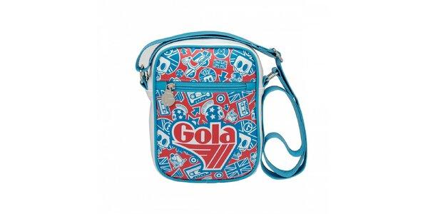 Bílá taška Gola s modročerveným potiskem