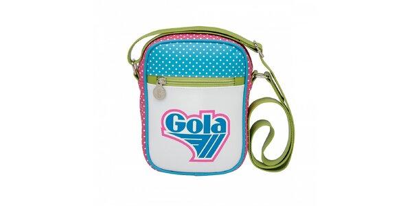 Bílá taška Gola s modro-růžovým potiskem