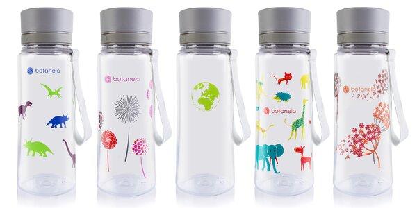 Láhev na vodu Botanela s různými motivy