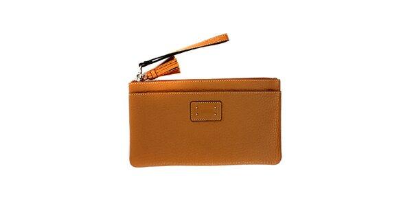 Dámská světle hnědá kožená peněženka do kabelky Pertegaz
