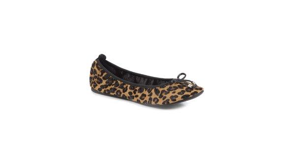 Dámské hnědé leopardí skládací baleríny RedFoot s mašlí