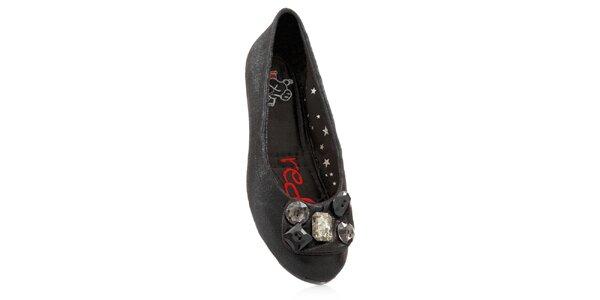 Dámské černé skládací baleríny RedFoot s kamínky