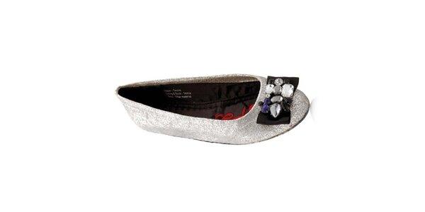 Dámské stříbrné skládací baleríny RedFoot s mašlí a kamínky