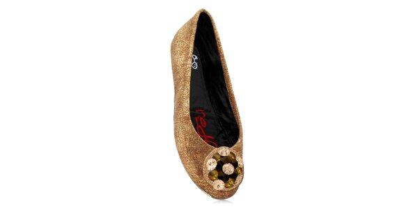 Dámské zlaté skládací baleríny RedFoot s kamínky
