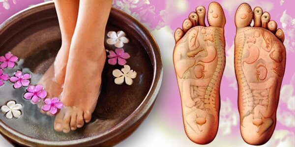Mokrá pedikúra včetně reflexní masáže nohou
