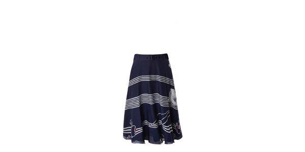 Dámská modro-bílá pruhovaná sukně a vlčími máky Fever