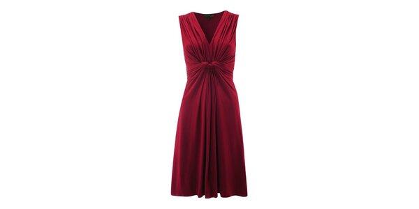 Dámské červené šaty s řasením Fever
