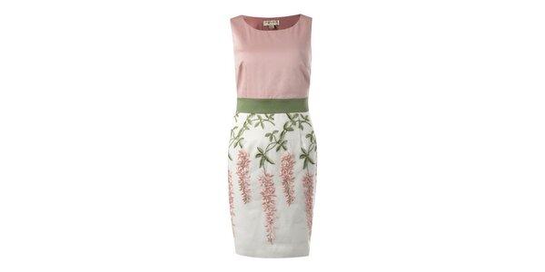Dámské růžovo-zelené pouzdrové šaty s květinovým vzorem Fever