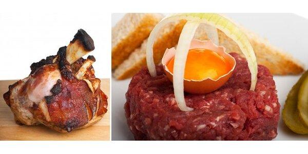 269 Kč za skvělý tatarský biftek nebo dvě marinovaná pečená kolena!