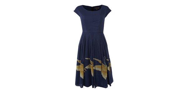 Dámské tmavě modré šaty Fever s obřími motýly