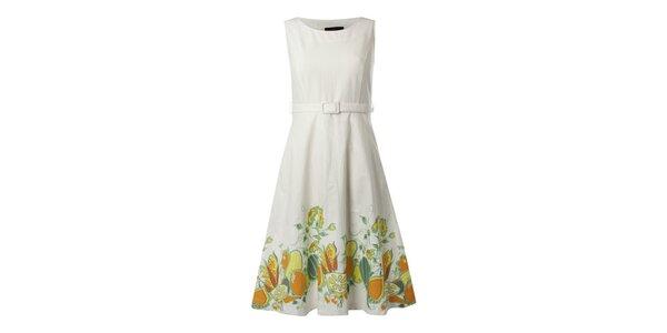 Dámské bílé šaty s citrusovým potiskem Fever