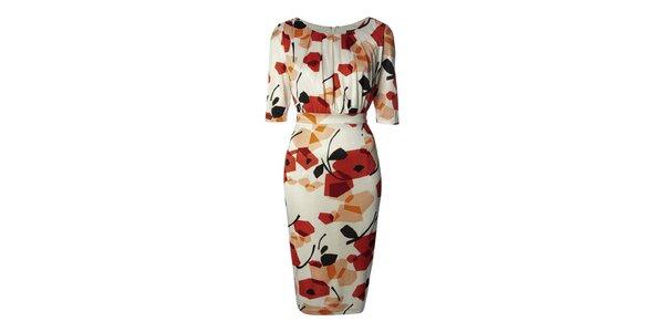 Dámské bílé šaty s oranžovými vzory Fever