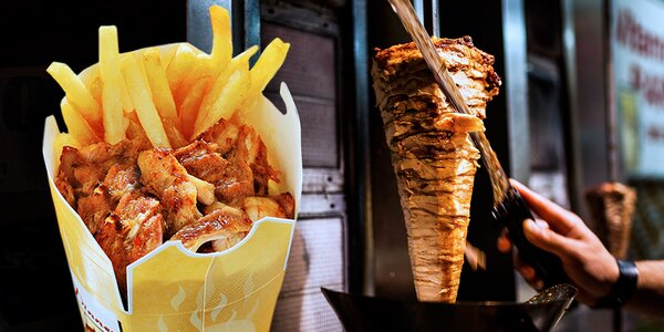 Kebab box: Grilované maso s hranolky a salátem