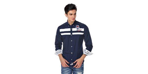 Pánská tmavě modrá košile s bílými pruhy M. Conte