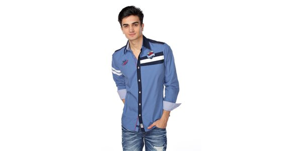 Pánská nebesky modrá košile s tmavě-modro bílými detaily M. Conte