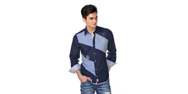 Pánská tmavě modrá košile se světle modrými pruhy M. Conte