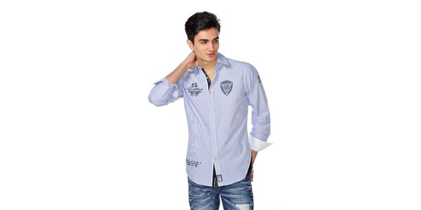 Pánská modro-bílá pruhovaná košile M. Conte