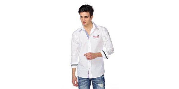 Pánská bílá košile s červeno-modrými detaily M. Conte
