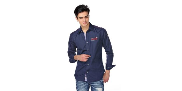 Pánská tmavě modrá košile s červeno-bílýmii detaily M. Conte