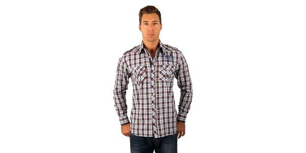 Pánská červeno-modrá kostkovaná košile M. Conte