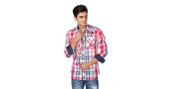 Pánská modro-červeno-bílá kostkovaná košile M. Conte