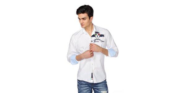 Pánská bílá košile s dlouhým rukávem a nášivkou M. Conte