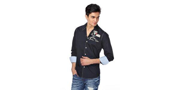 Pánská tmavě modrá košile s dlouhým rukávem a nášivkou M. Conte