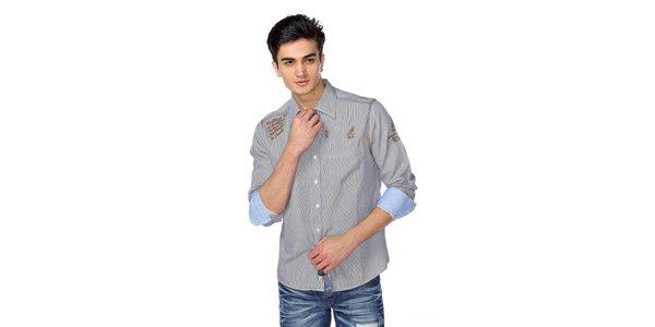 Pánská jemně proužkovaná košile s hnědými detaily M. Conte