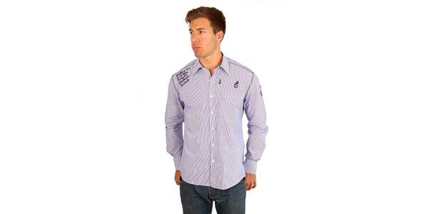 Pánská jemně proužkovaná fialovo-bílá košile M. Conte