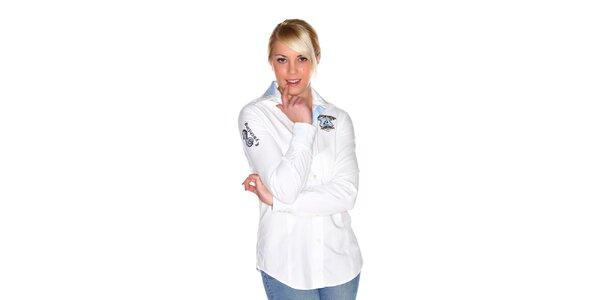 Dámská bílá košile M. Conte s výšivkou