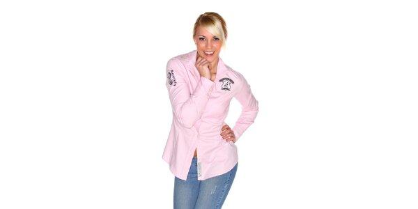 Dámská světle růžová košile M. Conte s výšivkou