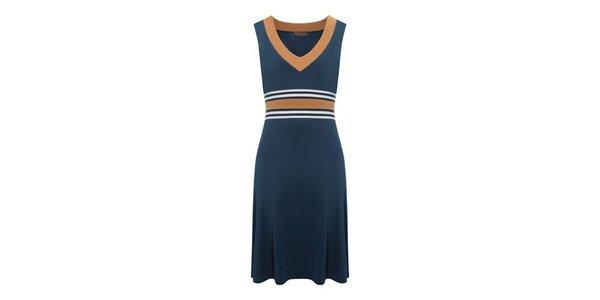 Dámské ocelově modré šaty s oranžovými detaily Fever