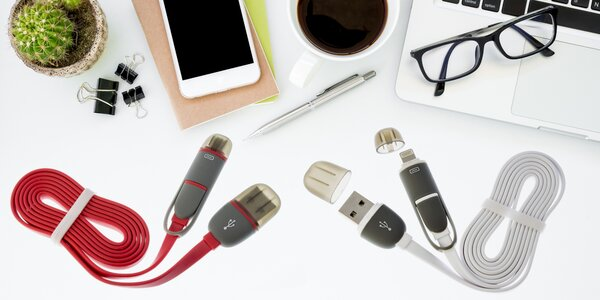 Datový USB kabel 2v1 pro iPhone a Android