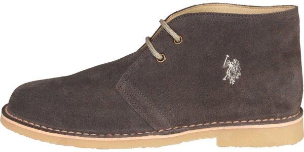 Pánské hnědošedé semišové boty U.S. Polo