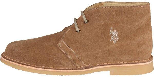 Pánské oříškově hnědé semišové boty U.S. Polo